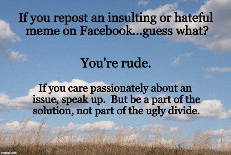 Hateful Meme | If you repost an insulting or hateful meme on Facebook...guess what? You're rude. If you care passionately about an issue, speak up.  But be | image tagged in political,tolerance | made w/ Imgflip meme maker