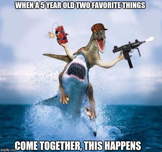 Welcome to IMGFlip | WHEN A 5 YEAR OLD TWO FAVORITE THINGS COME TOGETHER, THIS HAPPENS | image tagged in dinosaur riding shark,two favorite things,dank memes | made w/ Imgflip meme maker