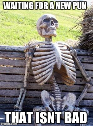 Waiting Skeleton Meme | WAITING FOR A NEW PUN THAT ISNT BAD | image tagged in memes,waiting skeleton | made w/ Imgflip meme maker
