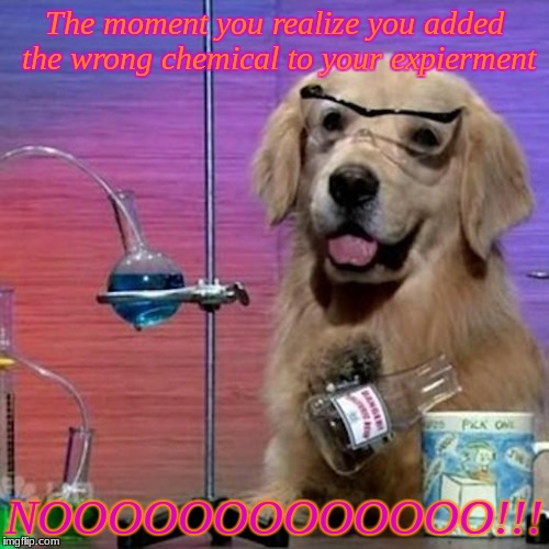 I Have No Idea What I Am Doing Dog | The moment you realize you added the wrong chemical to your expierment NOOOOOOOOOOOOO!!! | image tagged in memes,i have no idea what i am doing dog | made w/ Imgflip meme maker