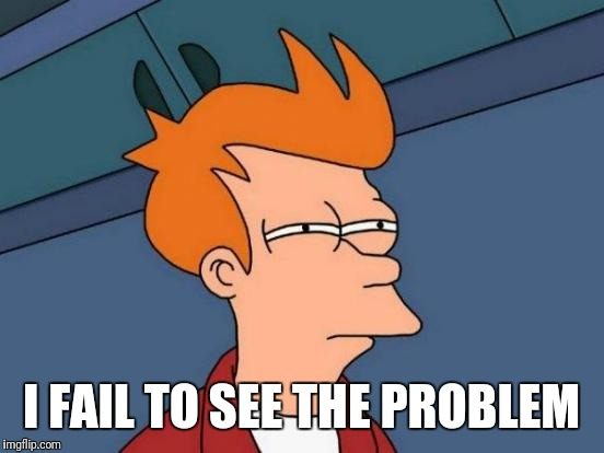 Futurama Fry Meme | I FAIL TO SEE THE PROBLEM | image tagged in memes,futurama fry | made w/ Imgflip meme maker