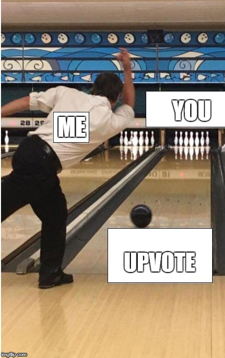 bowling | ME UPVOTE YOU | image tagged in bowling | made w/ Imgflip meme maker