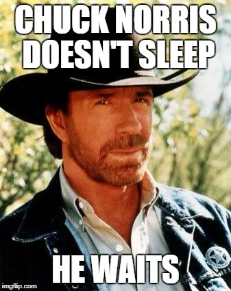 Chuck Norris Meme | CHUCK NORRIS DOESN'T SLEEP HE WAITS | image tagged in memes,chuck norris | made w/ Imgflip meme maker