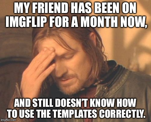 Frustrated Boromir Meme | MY FRIEND HAS BEEN ON IMGFLIP FOR A MONTH NOW, AND STILL DOESN'T KNOW HOW TO USE THE TEMPLATES CORRECTLY. | image tagged in memes,frustrated boromir,idiots | made w/ Imgflip meme maker