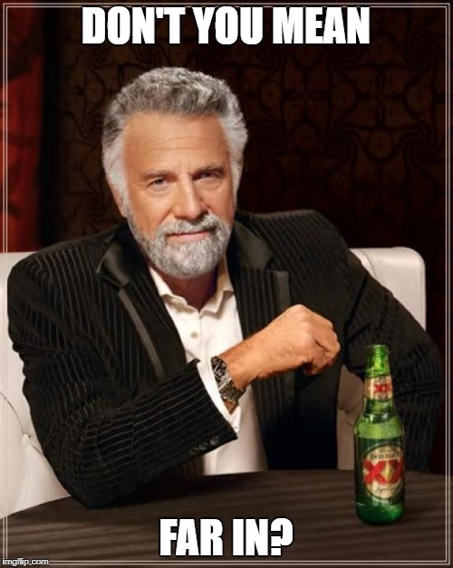 The Most Interesting Man In The World Meme | DON'T YOU MEAN FAR IN? | image tagged in memes,the most interesting man in the world | made w/ Imgflip meme maker