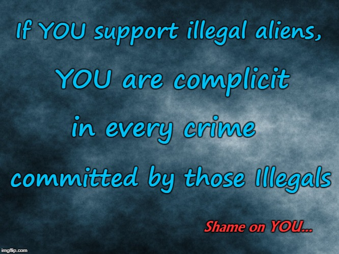 Support Illegals?  Complicit in their crimes  | If YOU support illegal aliens, committed by those Illegals YOU are complicit in every crime Shame on YOU... | image tagged in blue plasma,illegal aliens,crimes,shame on you | made w/ Imgflip meme maker