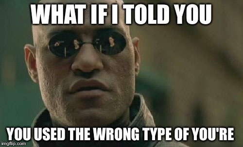 Matrix Morpheus Meme | WHAT IF I TOLD YOU YOU USED THE WRONG TYPE OF YOU'RE | image tagged in memes,matrix morpheus | made w/ Imgflip meme maker