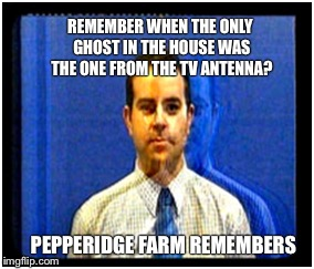 Ghost Week | REMEMBER WHEN THE ONLY GHOST IN THE HOUSE WAS THE ONE FROM THE TV ANTENNA? PEPPERIDGE FARM REMEMBERS | image tagged in memes,pepperidge farm remembers,ghost week | made w/ Imgflip meme maker