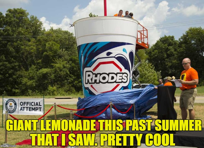 GIANT LEMONADE THIS PAST SUMMER THAT I SAW. PRETTY COOL | made w/ Imgflip meme maker