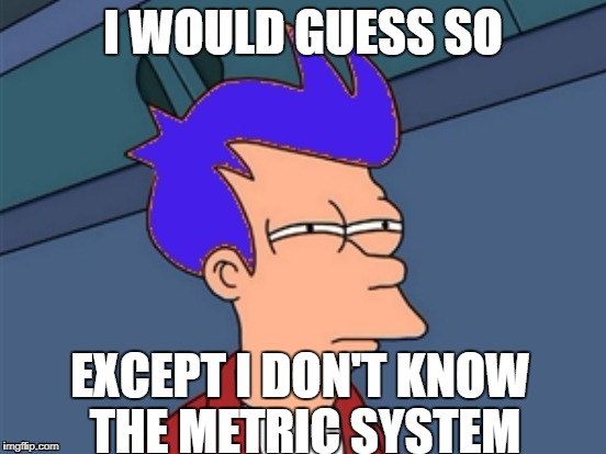 I WOULD GUESS SO EXCEPT I DON'T KNOW THE METRIC SYSTEM | made w/ Imgflip meme maker