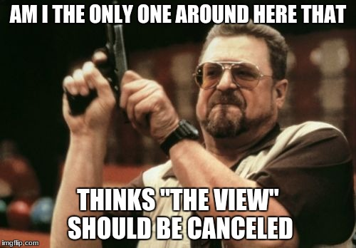 "Am I The Only One Around Here Meme | AM I THE ONLY ONE AROUND HERE THAT THINKS ""THE VIEW"" SHOULD BE CANCELED 