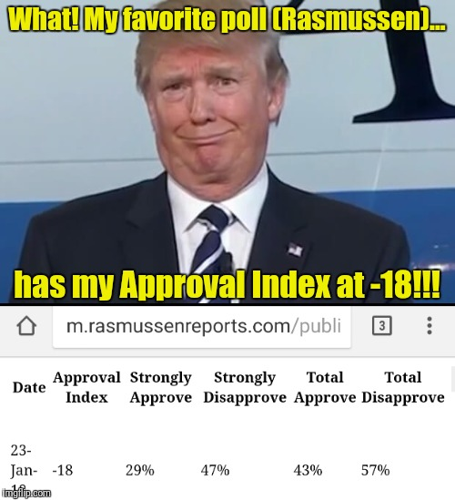 Trump still doing a lousy job for true Americans one year later... | What! My favorite poll (Rasmussen)... has my Approval Index at -18!!! | image tagged in memes,dumptrump,loser,donald trump | made w/ Imgflip meme maker