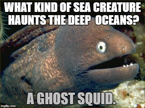 Bad Joke Eel Meme | WHAT KIND OF SEA CREATURE HAUNTS THE DEEP  OCEANS? A GHOST SQUID. | image tagged in memes,bad joke eel | made w/ Imgflip meme maker