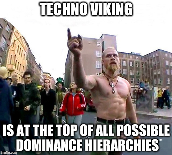 Techno Viking | TECHNO VIKING IS AT THE TOP OF ALL POSSIBLE DOMINANCE HIERARCHIES | image tagged in techno viking | made w/ Imgflip meme maker