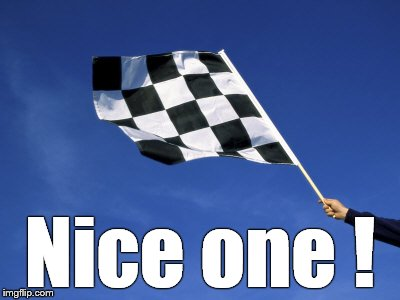 checkered flag waved | Nice one ! | image tagged in checkered flag waved | made w/ Imgflip meme maker