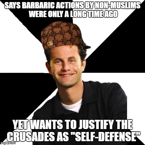 "Scumbag Christian Kirk Cameron | SAYS BARBARIC ACTIONS BY NON-MUSLIMS WERE ONLY A LONG TIME AGO YET WANTS TO JUSTIFY THE CRUSADES AS ""SELF-DEFENSE"" 