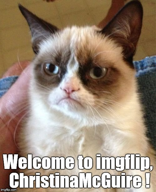 Grumpy Cat Meme | Welcome to imgflip, ChristinaMcGuire ! | image tagged in memes,grumpy cat | made w/ Imgflip meme maker
