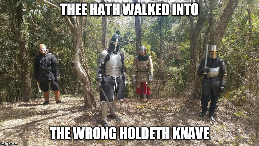 THEE HATH WALKED INTO THE WRONG HOLDETH KNAVE | image tagged in wrong hold | made w/ Imgflip meme maker