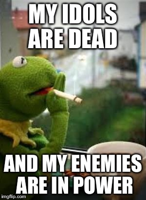 smoking kermit | MY IDOLS ARE DEAD AND MY ENEMIES ARE IN POWER | image tagged in smoking kermit | made w/ Imgflip meme maker