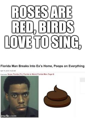 Insanity | ROSES ARE RED, BIRDS LOVE TO SING, | image tagged in memes,funny,dank memes,roses are red,news stories | made w/ Imgflip meme maker