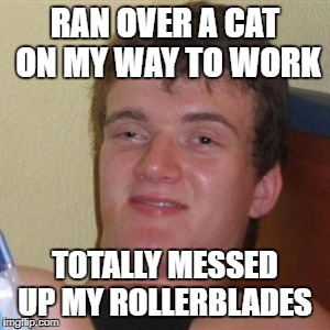 Road Kill tragedy |  RAN OVER A CAT ON MY WAY TO WORK; TOTALLY MESSED UP MY ROLLERBLADES | image tagged in high/drunk guy | made w/ Imgflip meme maker