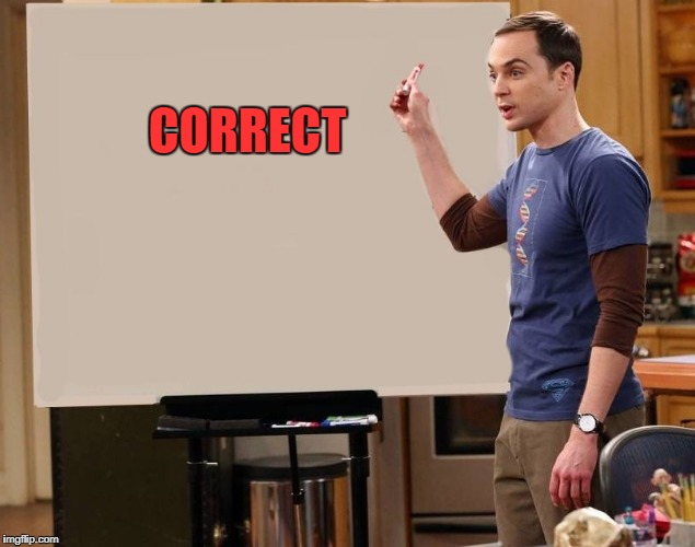 sheldon | CORRECT | image tagged in sheldon | made w/ Imgflip meme maker