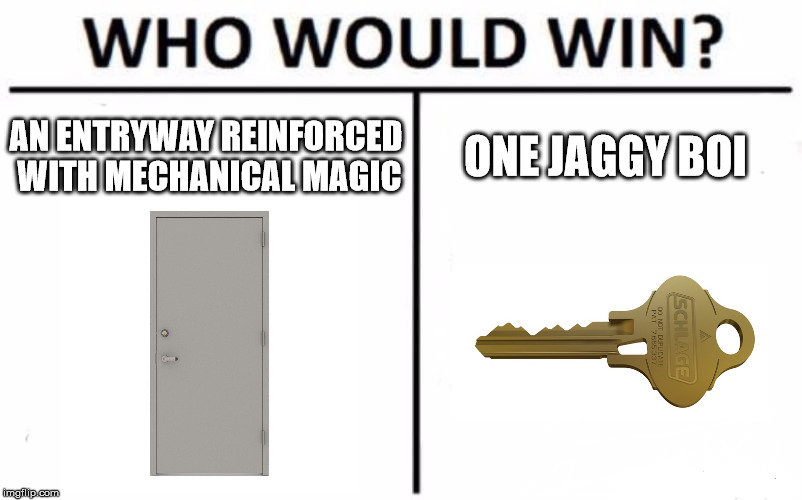 Clearly No Match... Unless the Jaggy is wrong... |  AN ENTRYWAY REINFORCED WITH MECHANICAL MAGIC; ONE JAGGY BOI | image tagged in memes,who would win,door,key,house,everyday meme | made w/ Imgflip meme maker