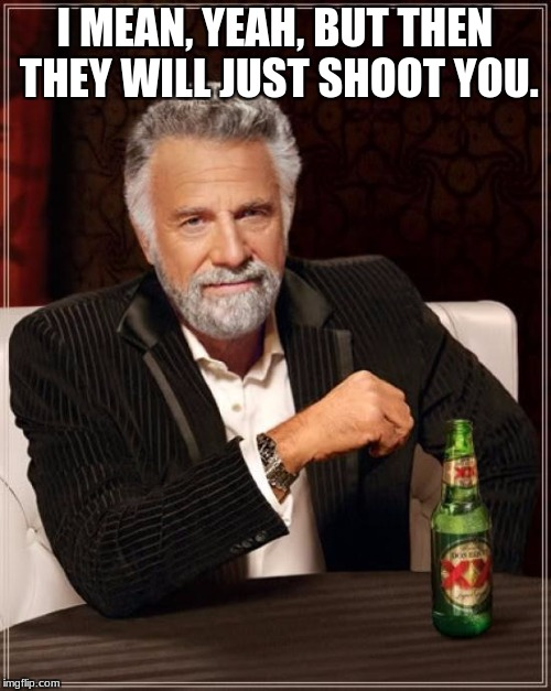 The Most Interesting Man In The World Meme | I MEAN, YEAH, BUT THEN THEY WILL JUST SHOOT YOU. | image tagged in memes,the most interesting man in the world | made w/ Imgflip meme maker