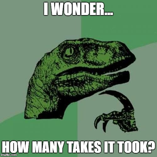 Philosoraptor Meme | I WONDER... HOW MANY TAKES IT TOOK? | image tagged in memes,philosoraptor | made w/ Imgflip meme maker