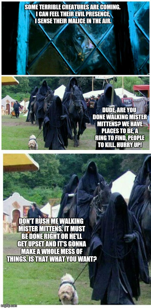 Some Terrible Creatures | SOME TERRIBLE CREATURES ARE COMING. I CAN FEEL THEIR EVIL PRESENCE, I SENSE THEIR MALICE IN THE AIR. DUDE, ARE YOU DONE WALKING MISTER MITTE | image tagged in nazgul,aragorn,dog,lotr,evil,mess | made w/ Imgflip meme maker