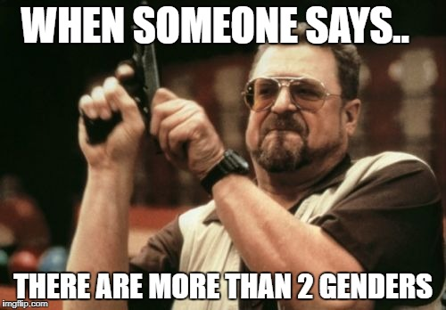 Gender fact | WHEN SOMEONE SAYS.. THERE ARE MORE THAN 2 GENDERS | image tagged in memes,lgbt,snowflake,feminism,gay,homophobic | made w/ Imgflip meme maker