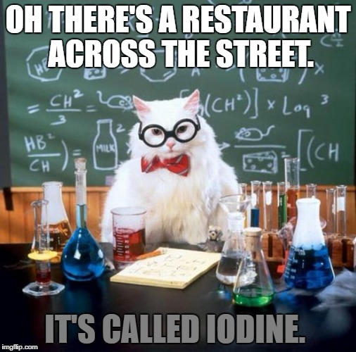 Chemistry Cat Meme | OH THERE'S A RESTAURANT ACROSS THE STREET. IT'S CALLED IODINE. | image tagged in memes,chemistry cat | made w/ Imgflip meme maker