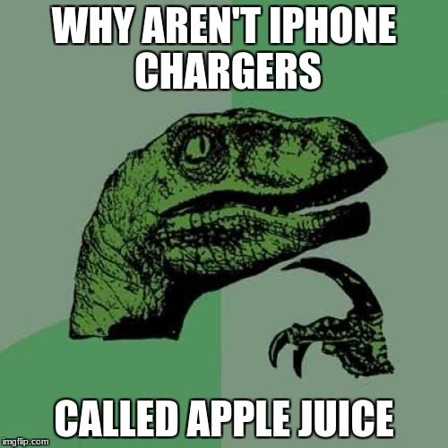 Random shower thoughts | WHY AREN'T IPHONE CHARGERS CALLED APPLE JUICE | image tagged in memes,philosoraptor | made w/ Imgflip meme maker