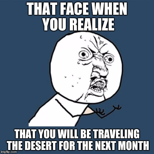 Y U No Meme | THAT FACE WHEN YOU REALIZE THAT YOU WILL BE TRAVELING THE DESERT FOR THE NEXT MONTH | image tagged in memes,y u no | made w/ Imgflip meme maker