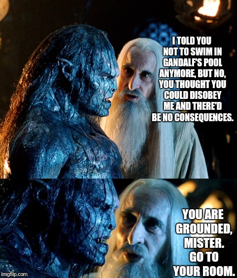 You're Grounded | I TOLD YOU NOT TO SWIM IN GANDALF'S POOL ANYMORE, BUT NO, YOU THOUGHT YOU COULD DISOBEY ME AND THERE'D BE NO CONSEQUENCES. YOU ARE GROUNDED, | image tagged in urukhai,saruman,gandalf,swimming pool,grounded | made w/ Imgflip meme maker