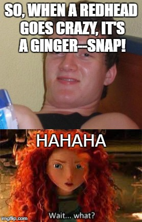 Gingersnaps are my favorite! | SO, WHEN A REDHEAD GOES CRAZY, IT'S A GINGER--SNAP! HAHAHA | image tagged in gingers,redheads,redhead,funny,funny memes,funny meme | made w/ Imgflip meme maker