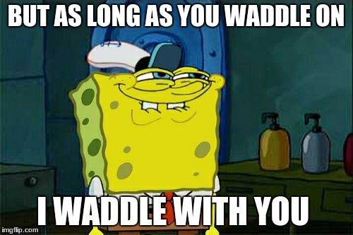Dont You Squidward Meme | BUT AS LONG AS YOU WADDLE ON I WADDLE WITH YOU | image tagged in memes,dont you squidward | made w/ Imgflip meme maker