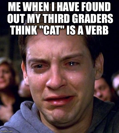 "crying peter parker | ME WHEN I HAVE FOUND OUT MY THIRD GRADERS THINK ""CAT"" IS A VERB 
