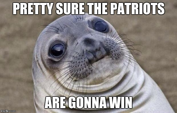 Awkward Moment Sealion Meme | PRETTY SURE THE PATRIOTS ARE GONNA WIN | image tagged in memes,awkward moment sealion | made w/ Imgflip meme maker