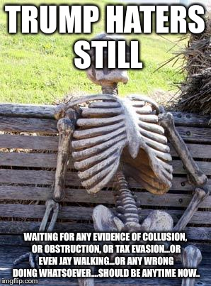 Waiting Skeleton Meme | TRUMP HATERS STILL WAITING FOR ANY EVIDENCE OF COLLUSION, OR OBSTRUCTION, OR TAX EVASION...OR EVEN JAY WALKING...OR ANY WRONG DOING WHATSOEV | image tagged in memes,waiting skeleton | made w/ Imgflip meme maker
