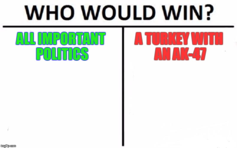 Who Would Win? Meme | ALL IMPORTANT POLITICS A TURKEY WITH AN AK-47 | image tagged in memes,who would win | made w/ Imgflip meme maker