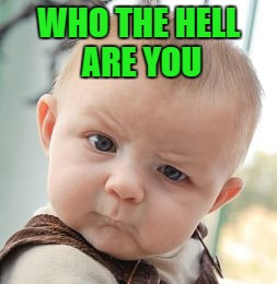 Skeptical Baby Meme | WHO THE HELL ARE YOU | image tagged in memes,skeptical baby | made w/ Imgflip meme maker