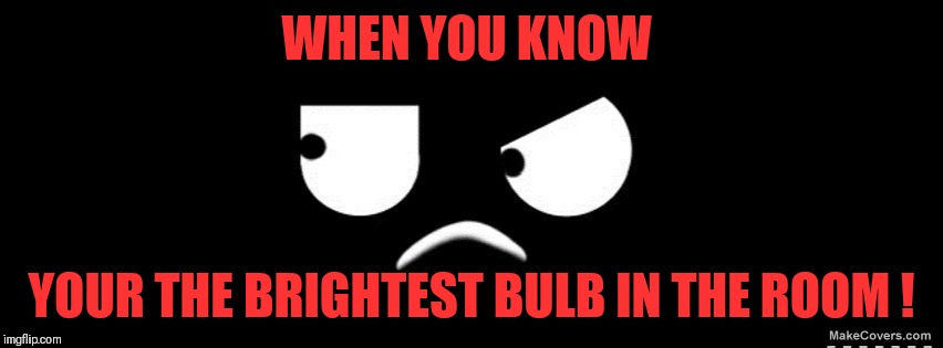 WHEN YOU KNOW YOUR THE BRIGHTEST BULB IN THE ROOM ! | image tagged in when you know | made w/ Imgflip meme maker