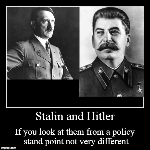 Stalin and Hitler | If you look at them from a policy stand point not very different | image tagged in funny,demotivationals | made w/ Imgflip demotivational maker