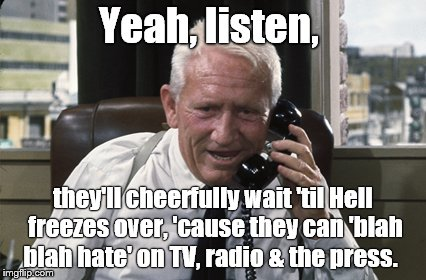 Tracy | Yeah, listen, they'll cheerfully wait 'til Hell freezes over, 'cause they can 'blah blah hate' on TV, radio & the press. | image tagged in tracy | made w/ Imgflip meme maker