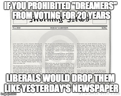 "IF YOU PROHIBITED ""DREAMERS"" FROM VOTING FOR 20 YEARS LIBERALS WOULD DROP THEM LIKE YESTERDAY'S NEWSPAPER 