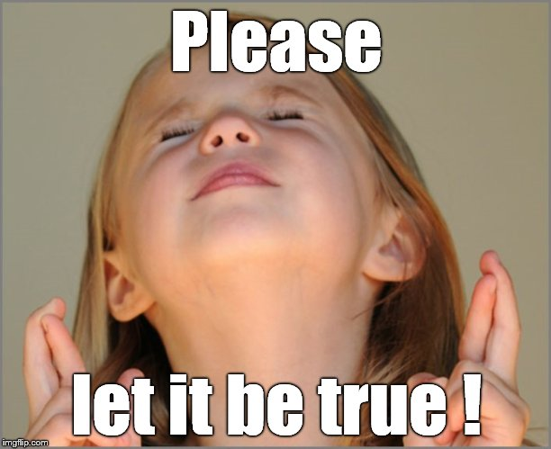 little girl praying | Please let it be true ! | image tagged in little girl praying | made w/ Imgflip meme maker