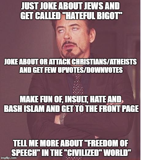 "Face You Make Robert Downey Jr Meme | JUST JOKE ABOUT JEWS AND GET CALLED ""HATEFUL BIGOT"" TELL ME MORE ABOUT ""FREEDOM OF SPEECH"" IN THE ""CIVILIZED"" WORLD"" JOKE ABOUT OR ATTACK CH 
