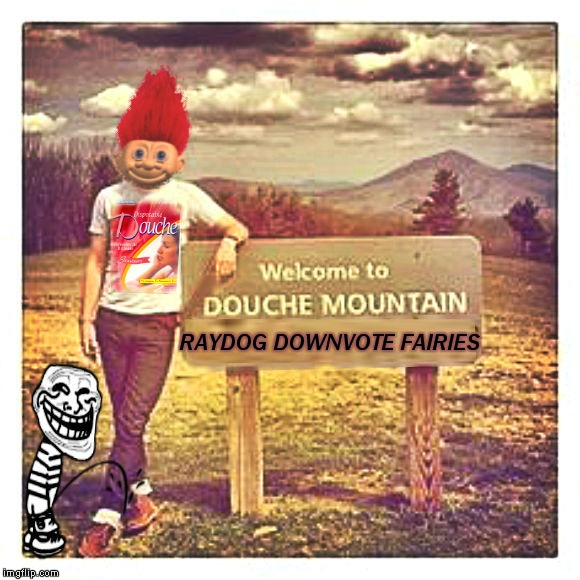 The waterfall is the best up on douche mountain.... | RAYDOG DOWNVOTE FAIRIES | image tagged in douche,douche mountain,troll | made w/ Imgflip meme maker