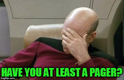 Captain Picard Facepalm Meme | HAVE YOU AT LEAST A PAGER? | image tagged in memes,captain picard facepalm | made w/ Imgflip meme maker